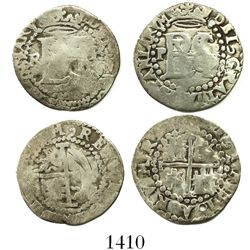 Lot of 2 Potosi, Bolivia, cob 1/2R, Philip II, assayer R (Rincon), one with R to left and one with R