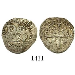 Potosi, Bolivia, cob 1/2 real, Philip II, assayer B (2nd period) below, mintmark P to left of monogr