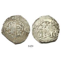 Potosi, Bolivia, cob 8 reales, 1657E, pomegranate at top on both sides.