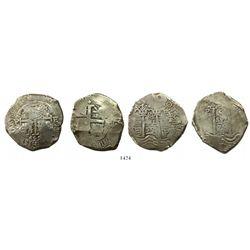 Lot of 2 Potosi, Bolivia, cob 8 reales of assayer E: 1659 and 1678.