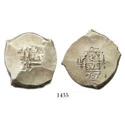 Potosi, Bolivia, cob 8 reales, 1707(Y).