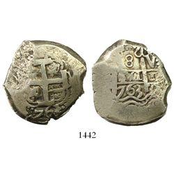 Potosi, Bolivia, cob 8 reales, 1763V-(Y).