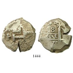 Potosi, Bolivia, cob 8 reales, 1773V-(Y), rare final year of cobs.