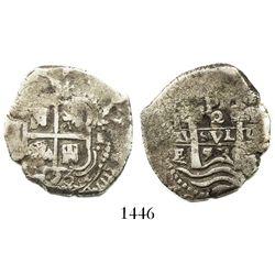 Potosi, Bolivia, cob 2 reales, 1653E, PH at top, ex-Bir.