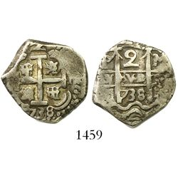 Potosi, Bolivia, cob 2 reales, 1738M.