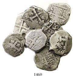 Lot of 8 Potosi, Bolivia, cob 2 reales, Philip V through Charles III, various dates and assayers.