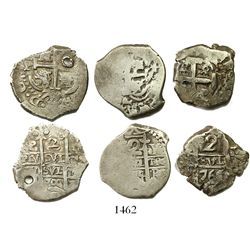 Lot of 3 Potosi, Bolivia, cob 2 reales, various dates and assayers (1700s).