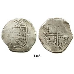 Seville, Spain, cob 8 reales, Philip II, assayer Gothic D at 4 o'clock outside tressure.