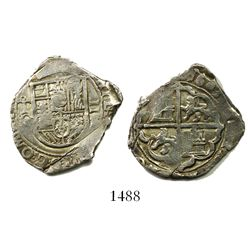 Toledo, Spain, cob 2 reales, 1603C, OMNIVM in legend, rare.