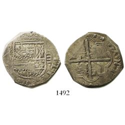 Toledo, Spain, cob 4 reales, Philip IV, assayer not visible.