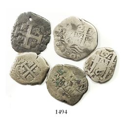 Lot of 5 Spanish colonial cob 2R: Lima 1718M and 1743(?)V; Potosi 1683V, 1743C and 1767V-(Y).