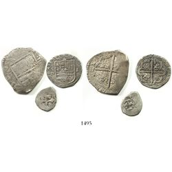 Lot of 3 Spanish and Spanish colonial cob minors: Toledo 4R Philip IV assayer P; Seville 1R Philip I