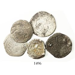 Lot of 5 Spanish colonial cob 1R, Philip II through Philip IV, various assayers (where visible).