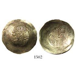 Byzantine Empire, electrum aspron trachy (scyphate), Manuel I, 1143-80 AD, Constantinople mint.