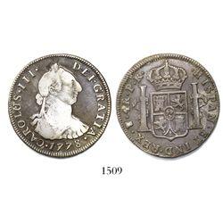 Potosi, Bolivia, bust 4 reales, Charles III, 1778PR.