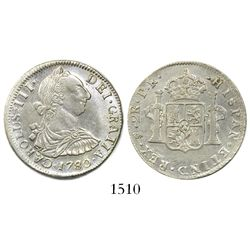Potosi, Bolivia, bust 2 reales, Charles III, 1780/79PR.