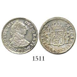 Potosi, Bolivia, bust 1 real, Charles III, 1780PR.