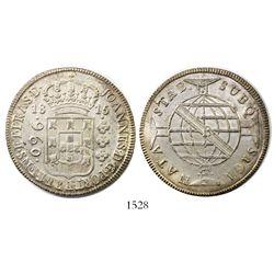 Brazil (Bahia mint), 960 reis, Joao Prince Regent, 1815-B, struck over a Cadiz, Spain, 8 reales, 181