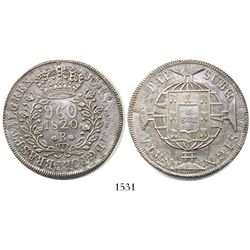 Brazil (Rio mint), 960 reis, Joao VI, 1820-R, struck over a Mexico City, Mexico, bust 8 reales, 1816