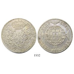 Brazil (Rio mint), 960 reis, Joao VI, 1820-R, struck over a Spanish colonial 8 reales of 1819.