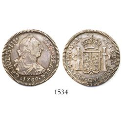 Santiago, Chile, bust 2 reales, Charles III, 1788DA.