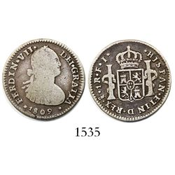 Santiago, Chile, bust 1 real, Ferdinand VII (bust of Charles IV), 1809/8FJ, with FERDIN struck over