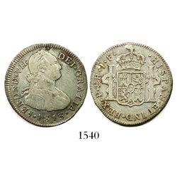 Popayan, Colombia, bust 2 reales, Ferdinand VII, 1813JF.