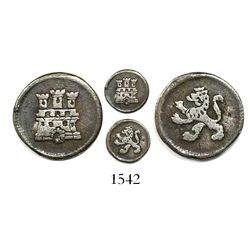 Bogota, Colombia, 1/4 real, Charles III, anepigraphic type with pillar-type castle, bust-type lion.