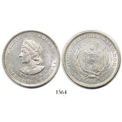 El Salvador, 1 peso, 1893-CAM, Columbus.