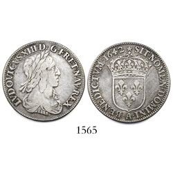 France (Paris mint), 1/4 ecu, Louis XIII, 1642-A.