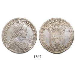 France (Paris mint), 1/2 ecu, Louis XIV, 1644-A.