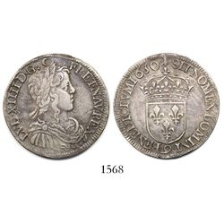 "France (Rennes mint), 1/2 ecu, Louis XIV, 1650-""9""."