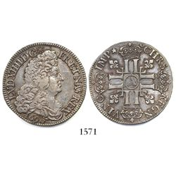 France (Paris mint), 1/2 ecu, Louis XIV, 1690-A.
