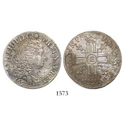 France (Tours mint), 1/2 ecu, Louis XIV, 169(?)-E.