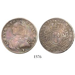 "France (Rennes mint), 1/2 ecu, Louis XV, 1729-""9""."