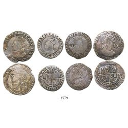 Lot of 4 hammered English minors of the late 1500s to early 1600s: two shillings (both Charles I) an