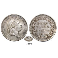 Great Britain (Bank of England), 3-shilling bank token, George III, 1814, with S+T countermark in ov