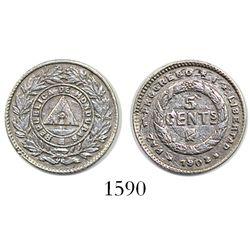 Honduras, 5 centavos, 1902, clashed dies, rare (key date).