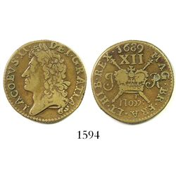"Ireland, brass ""gunmoney"" shilling, James II, 1689 (November)."