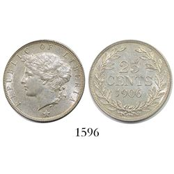 Liberia, 25 cents, 1906-H.