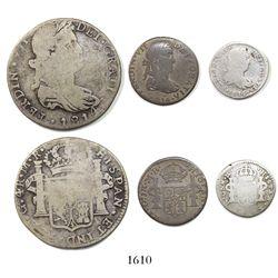 Lot of 3 Guadalajara minors dated 1814MR (4 reales, 1 real and 1/2 real).