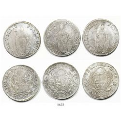 Lot of 3 Lima, Peru, 8 reales, 1834MM, 1835MT and 1836MT.
