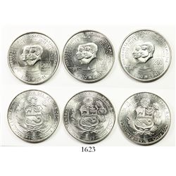 Lot of 3 Banco Central de Reserva del Peru 200 soles de oro, 1976, 1977 and 1978, aviation heroes Ch