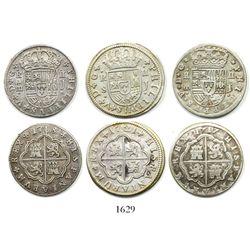 "Lot of 3 Spanish milled 2R ""pistareens"": Segovia, 1717J and 1718J; Seville, 1721J."