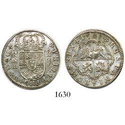 """Segovia, Spain, milled 2 reales """"pistareen,"""" Philip V, 1719J"""