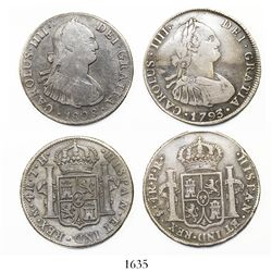 Lot of two Spanish colonial bust 4 reales: Potosi Charles III 1793PR and Mexico Charles IV 1808TH.