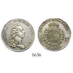 Sweden, 1/6 riksdaler, Gustav III, 1789.