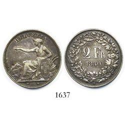 Switzerland (Confederation), 2 francs, 1850-A.