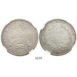 Uruguay, 1 peso, 1893, encapsulated NGC AU 50.