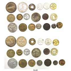 Large lot of 19 tokens from Cuba, various metals, 1800s to early 1900s, some rare.